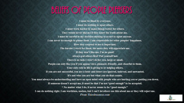 Beliefs of people pleasers